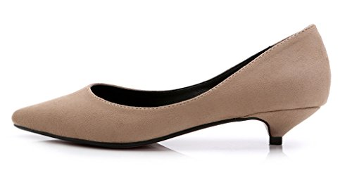 CAMSSOO Women's Classic Slip On Pointed Toe Low Kitten Heel Wedding Dress Pumps Shoes Khaki Suede 8.5 M US