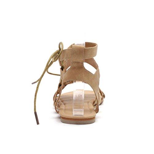 Open Toe Verano Beige Talla Blanda Fiesta Suela Playa de 2018 Cruz Grande Cordones de Romano para Moda Sandalias Mujer Sandalias de Zapatos de Planos Sandalias PAOLIAN Vestir qpB1BX