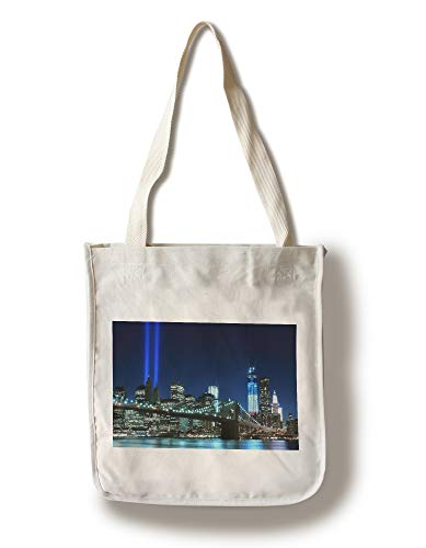 City Light Tote - Lantern Press New York City, New York - Brooklyn Bridge with Twin Tower Lights - Photography A-92017 (100% Cotton Tote Bag - Reusable)