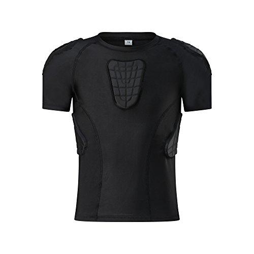 TUOY Youth Boys Padded Compression Shirts Shorts Rib Chest Protector Protective Sports Workout Safety T-Shirts for Football Paintball Baseball Baseball Rib Protector