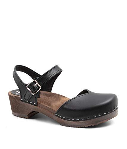 Sandgrens Swedish Wooden Low Heel Clog Sandals for Women | Saragasso Black Veg DK, EU 37