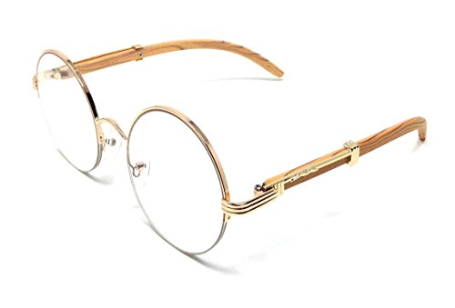 Professor Half Rim Round Metal & Wood Eyeglasses / Clear Lens Sunglasses (Rose Gold & Light Brown Wood Frame, - Half Sunglasses Round