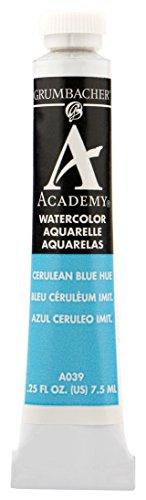 Grumbacher Academy Watercolor Paint, 7.5ml/0.25 Ounce, Cerulean Blue Hue (A039)