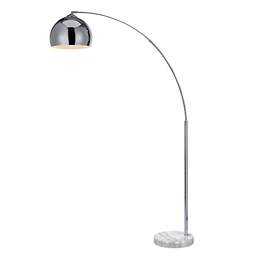 "Versanora VN-L00010 Arquer Metal Arc 67"" Height Chrome Finished Shade and White Marble Base Floor Lamp"