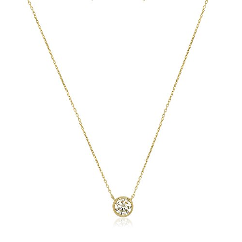JewelryWeb 14k Gold 16-Inch 6mm Cubic Zirconia Bezel Solitaire Necklace (Yellow, White or Rose) - Drop Necklace Heart Zirconia Cubic