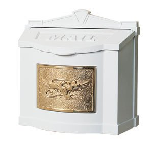 Gaines Eagle Design Wall Mount Mailbox With Locking Insert - White Polished Brass