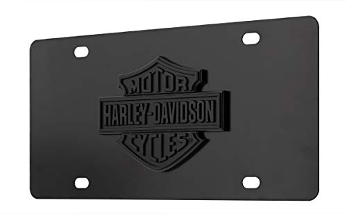 Harley-Davidson Bar and Shield Black 3D Emblem Decorative Vanity Front License Plate - Harley Davidson Plates
