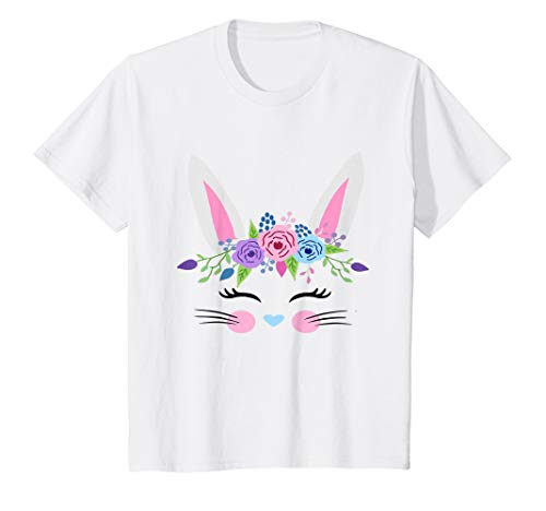 Kids Easter Bunny Face Shirt Cute Easter Basket Stuffer for Girls ()
