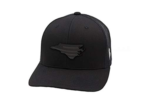Branded Bills 'Midnight North Carolina Patriot' Black Leather Patch Hat Curved Trucker - OSFA/Black