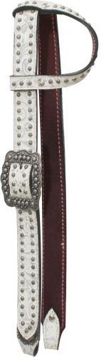 (One Ear Belt Style White Leather with Silver Filigree Bridle)