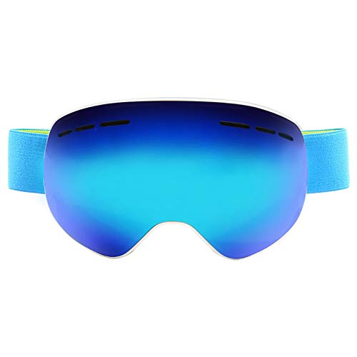 EoCot Magnet Spherical Double-Layer Anti-Fog Hd Goggles Ski Glasses White Frame Blue