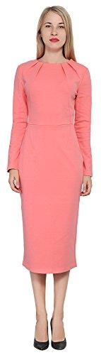 Marycrafts Women's Work Office Business Long Sleeve Pencil Midi Dress 2 Pink Orange