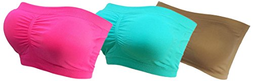 3x Damen Bandeau Bra trägerlos Unterhemd TOP Sport Bh Push Up BUNT bnu pink/turkuaz/creme