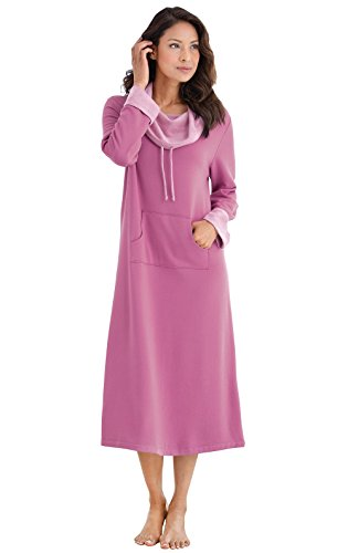 PajamaGram Women's Soft Ladies Nightgowns - Long Nightgowns for Women, Pink, L