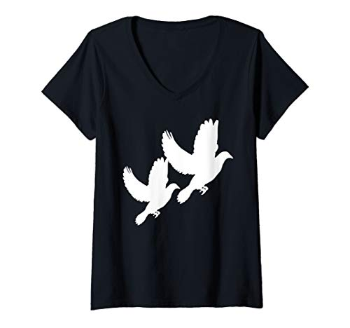 Womens Dove Flying Two Pigeon Bird Lover Cool Gift V-Neck T-Shirt