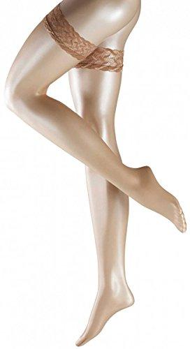 Falke Womens Shelina 12 Denier Ultra-Transparent Shimmer Stay-Up Stockings - Powder - Medium