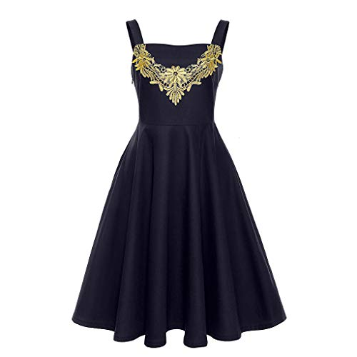 (Womens Summer Dress, Pan Hui Fashion Women Sleeveless Vintage Floral Print Formal Ball Gown Dress Prom Party Sundress Black)