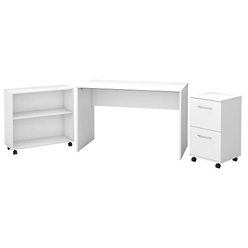 Bush Furniture Office Complete Small Desk with Mobile File Cabinet and Bookcase in Pure White ()