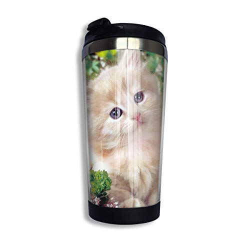 Coffee Thermos Cup Flowers Cat Kitty Stainless Steel Travel Mug Cup Water Bottle