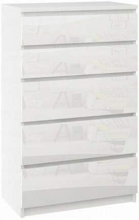 Megaastore Commode moderne avec 5 tiroirs Blanc brillant Noir brillant Cordes blanches Cordes en bois de z/èbre weng/é 121 x 70 x 40 cm Blanc//brillant