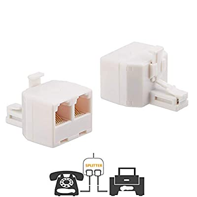 Uvital RJ11 Plug 1 to 2 Dual Phone Line Splitter Wall Jack Split into Two Modular Converter Adapter for Office Home ADSL DSL Fax Model Cordless Phone System, White(2 Packs)
