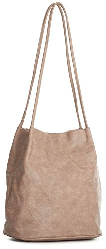Big Handbag Shop Womans Fashion Designer Medium Size Plain Soft Vegan Leather Hobo Bucket Tote Shoulder Bag - Medium Size Pale Pink