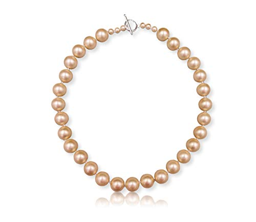 MGR MY GEMS ROCK! Matte Finish 14MM South Sea Mother of Pearl Shell Pearl Beaded Hand Knotted Collar Statement Necklace Sterling Silver Toggle Loop Clasp, About 19.50