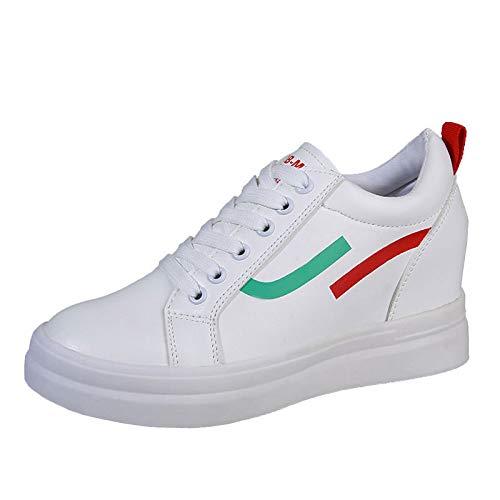 Rosso Rotonda Creepers Autunno Poliuretano Blu Pu Da Donna Punta Comfort SHOESHAOGE Rosso Scarpe Sneakers qpP8wxSXv