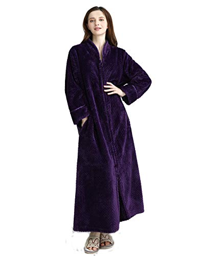 Women's Zip Front Bathrobe Premium Flannel Fleece Plush Caftan Soft Long Robe Warm Housecoat, Purple-XL