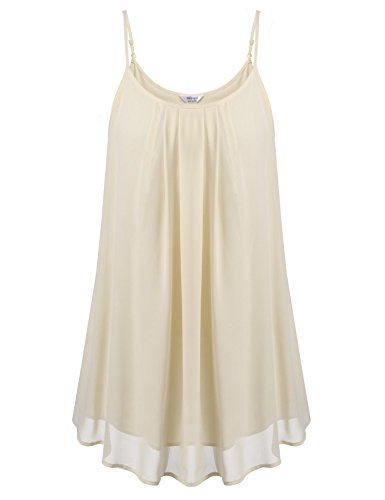 Women's Summer Cool Casual Sleeveless Pleated Chiffon Layered Spaghetti Strap Tank Top (Layered Spaghetti Strap)