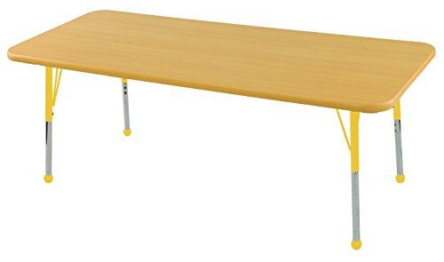 ECR4Kids T-Mold 30 x 60 Rectangular Activity School Table, Standard Legs w/Ball Glides, Adjustable Height 19-30 inch (Maple/Yellow)