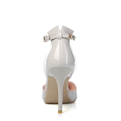 AllhqFashion Women's Patent Leather Buckle Pointed Closed Toe High-Heels Solid Sandals Gray 51WF28l7RY