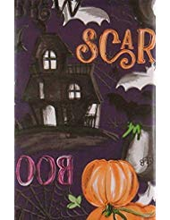 Halloween Vinyl Tablecloth (Scary Witches Brew Halloween Vinyl Flannel Back Tablecloth (52