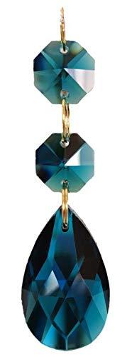 38mm Teardrop Pendants Chandelier Crystal Prisms Pendants Glass Pendants Beads, Pack of 10 (Peacock Blue)