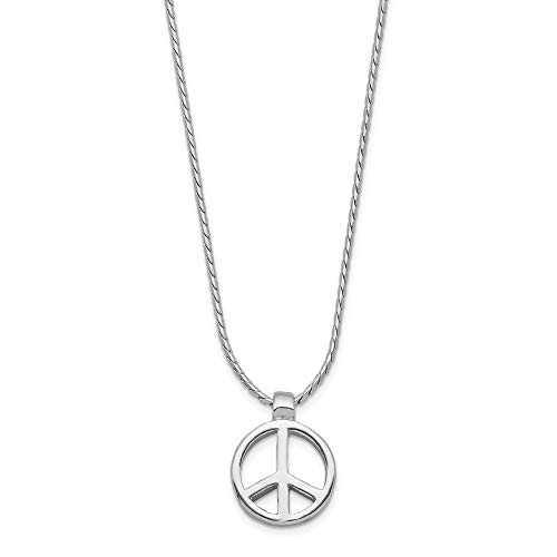 (925 Sterling Silver Peace Sign Charm On 16 Chain Necklace Pendant Inspirational Fine Jewelry Gifts For Women For Her)