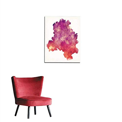 longbuyer Photographic Wallpaper Delhi Union Territory Watercolor map of India in Front of a White Background Mural 20