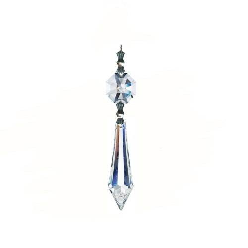 (CrystalPlace 38mm Crystal U-drop Icicle Prisms-w/ 14mm Octagon Crystal (Clear) Made with Magnificent Crystal)