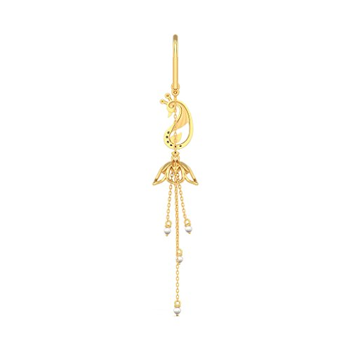 Or jaune 18K 0.16CT TW White-diamond (IJ | SI) et blanc perle Pendants d'oreilles