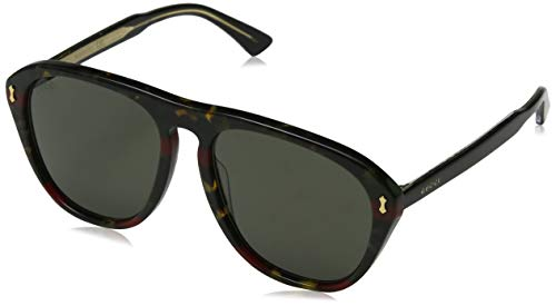 Gucci GG0128S Sunglasses 003 Havana/Black / Grey Lens 56 mm ()