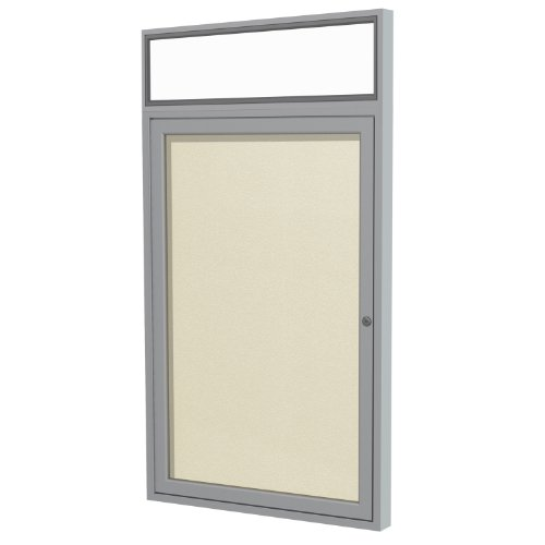 Headliner Cork Bulletin Board - Ghent 36 x 30 Inches Outdoor Satin Frame Enclosed Vinyl Bulletin Board with Headliner , Ivory , Made in the USA