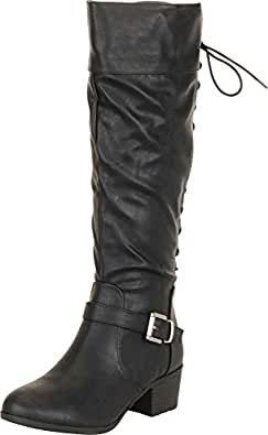 Cambridge Select Women's Back Corset Lace Moto Chunky Block Low Heel Knee-High Boot Black Size: 6