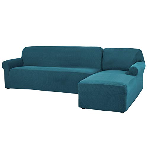 CHUN YI 2 Pieces L-Shaped Right Chaise Jacquard Polyester Stretch Fabric Sectional Sofa Slipcovers Dust-Proof L Shape Corner 3 Seats Sofa Cover Set for Living Room (Teal)