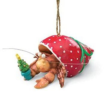 Cape Shore Pet Hermit Crab in Holiday Red Shell Christmas Tree Ornament