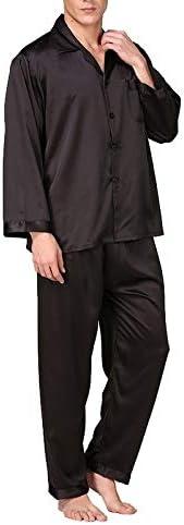 パジャマ CHJMJP メンズステインシルクパジャマセットの男性パジャマシルクパジャマ男性モダンなスタイルのソフトコージーサテンナイトガウン (Color : Red With Rope, Size : XXL)