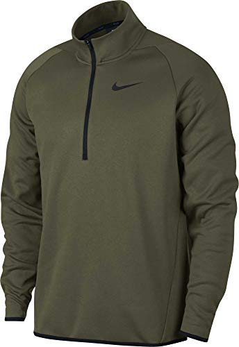 Nike Men's Therma 1/4 Zip Fleece Pullover (Olive Canvas/Black, Large)