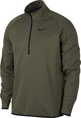 Nike Men's Therma 1/4 Zip Fleece Pullover (Olive Canvas/Black, Medium)