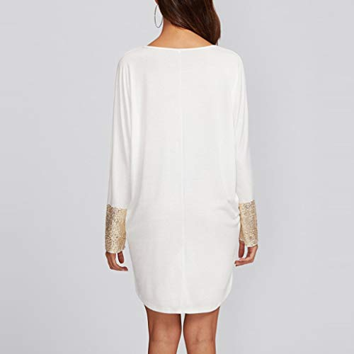 PASATO Fashion Womens Round Neck Dress Sequined Pocket Casual Loose T-Shirt Dress(White,XL=US:L) by PASATO Dress (Image #4)