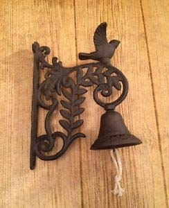 LuxMart Cast Iron Wall Mount Bird Dinner Bell 9 1/2