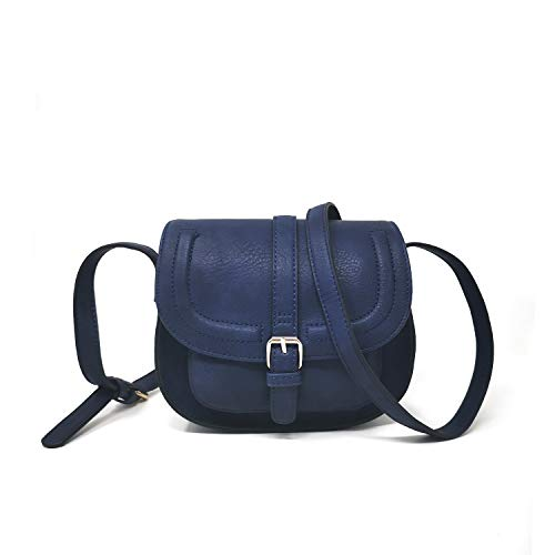 Small Purse Vintage Satchel for Women PU Leather Cover Hasp Crossbody Bag and Blue Saddle Shoulder Bag