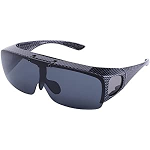 TINHAO Mens Sunglasses Polarized Flip Up Fitover Sunglasses with Carbon Fiber Texture Frame